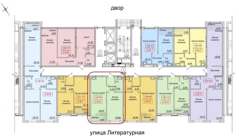 41,17 кв.м жк 35 жемчужина тридцать пятая однокомнатная расположение на этаже