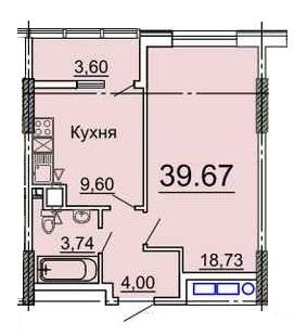 Однокомнатная - ЖК 31 ЖемчужинаПроданаПлощадь:39,67m²
