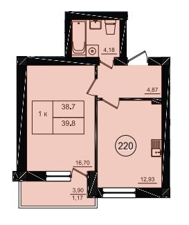 Однокомнатная - ЖК Парк Фонтанов$28187Площадь:39,7m²