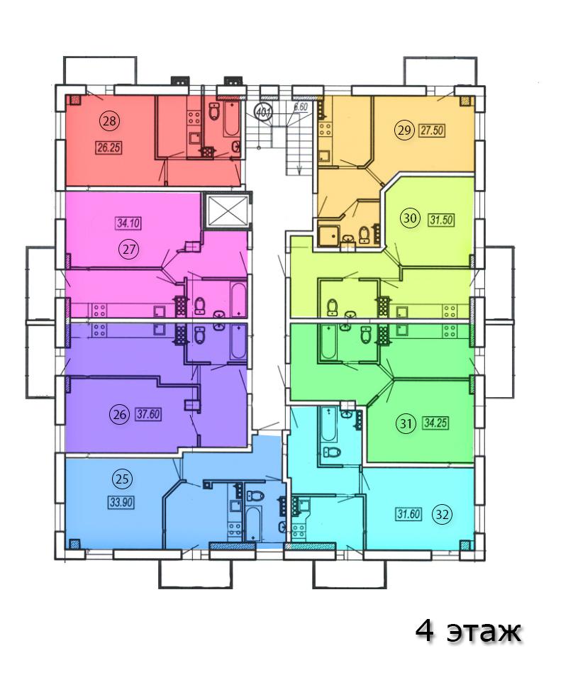 жк клубный №4 план 4-го этажа