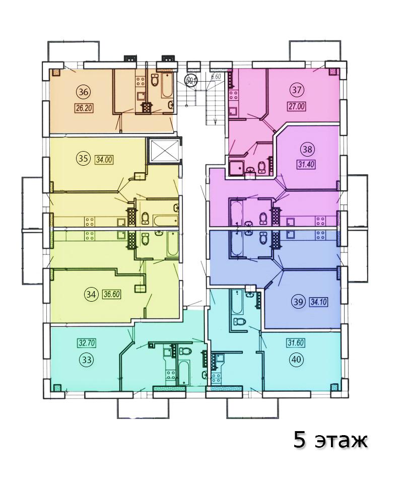жк клубный №4 план 5-го этажа