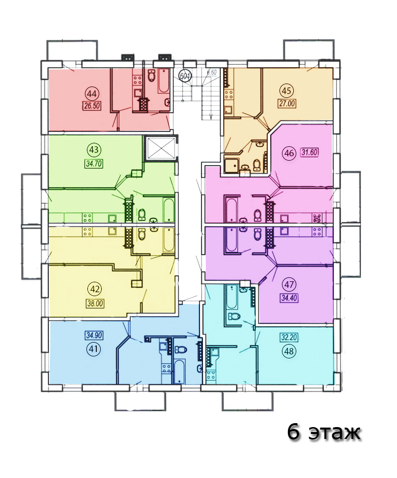 жк клубный №4 план 6-го этажа