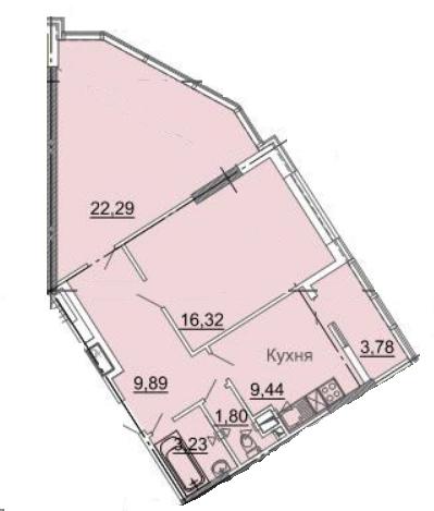 Двухкомнатная - ЖК 31 ЖемчужинаПроданаПлощадь:66,75m²