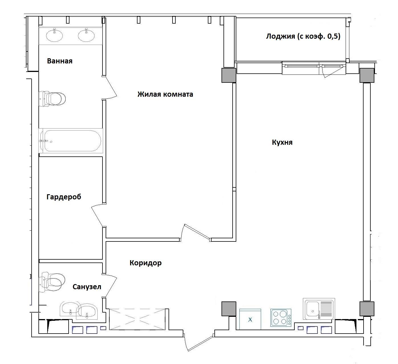 Однокомнатная - ЖК GreenWood (Гринвуд)$123725Площадь:74,39m²