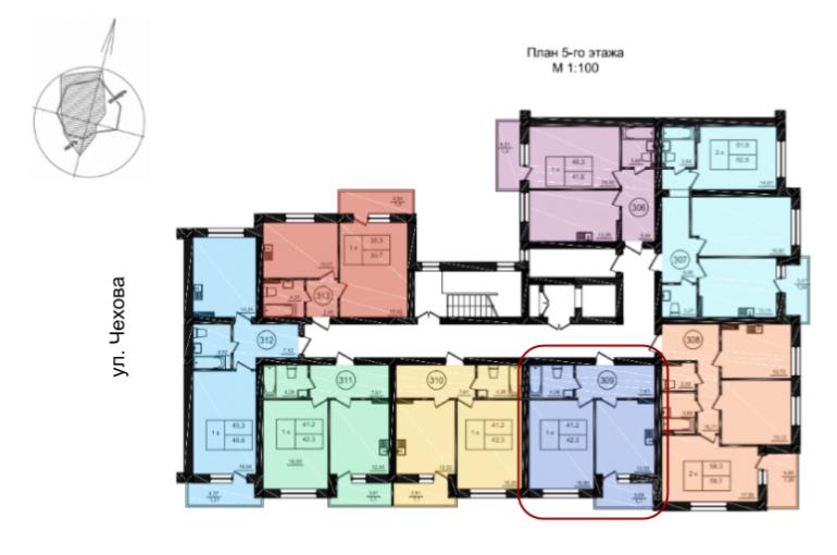 42,3 кв.м ж к парк фонтанов однокомнатная расположение на этаже
