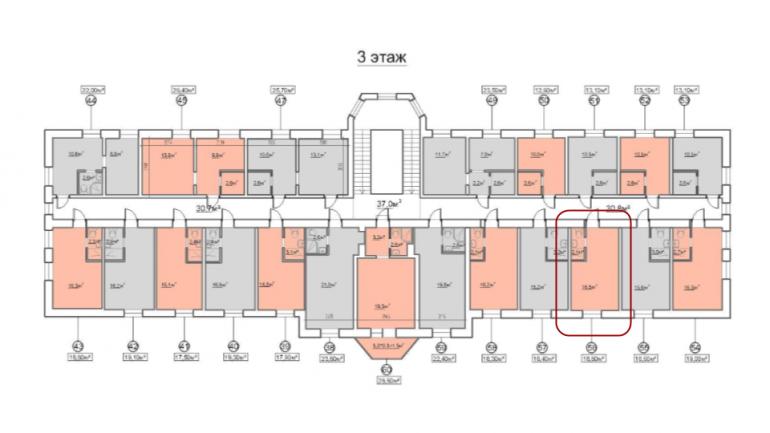 18,6 кв.м жк 7-я пересыпская однокомнатная смартквартира расположение на этаже