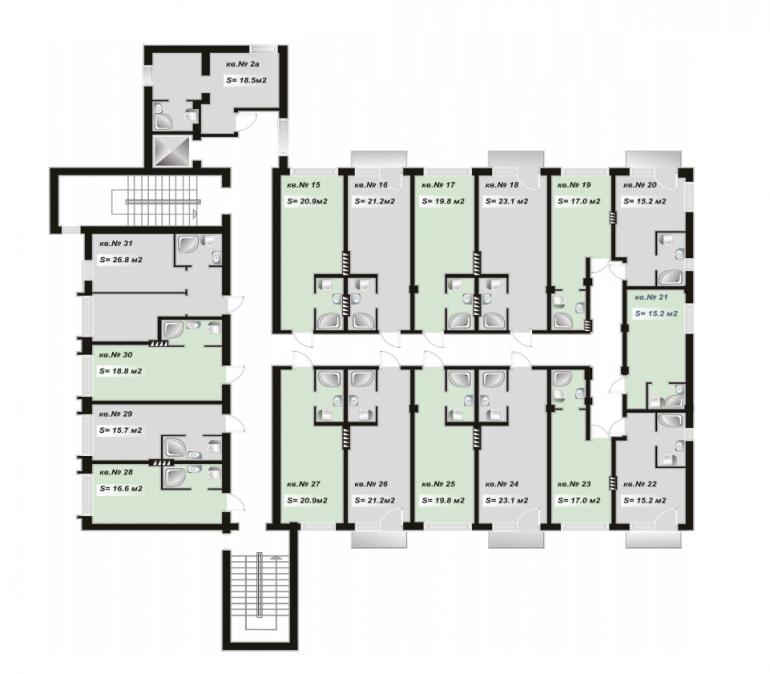план второго шестого этажа ЖК Андреевский