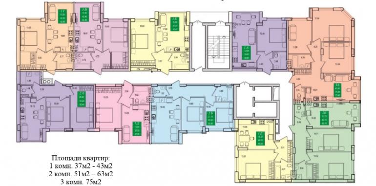 ЖК Приморские сады план этажа 4-я очередь