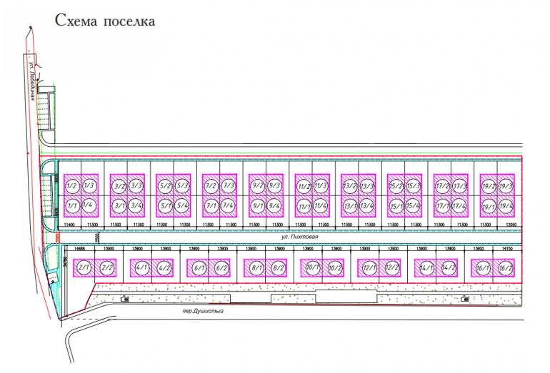 Схема расположения коттеджный поселок светлый совиньон