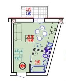Однокомнатная - ЖК Дом на ПриморскойПроданаПлощадь:21,82m²