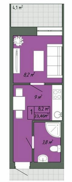 Однокомнатная - ЖК Акварель-2$13607Площадь:23,46m²