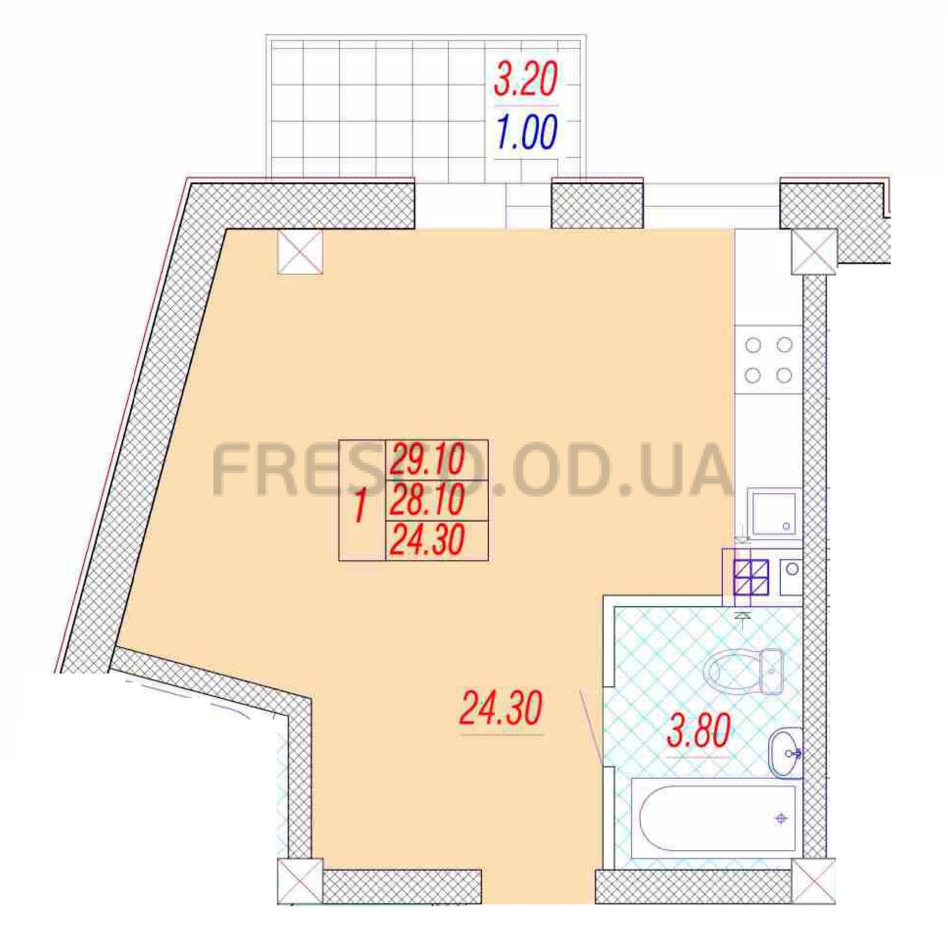 Однокомнатная - ЖК Дом на Приморской$25515Площадь:24,3m²