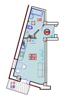 Однокомнатная - ЖК Дом на Приморской$26710Площадь:26,71m²