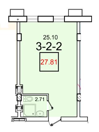 Однокомнатная - ЖК Smart (Смарт)ПроданаПлощадь:27,81m²