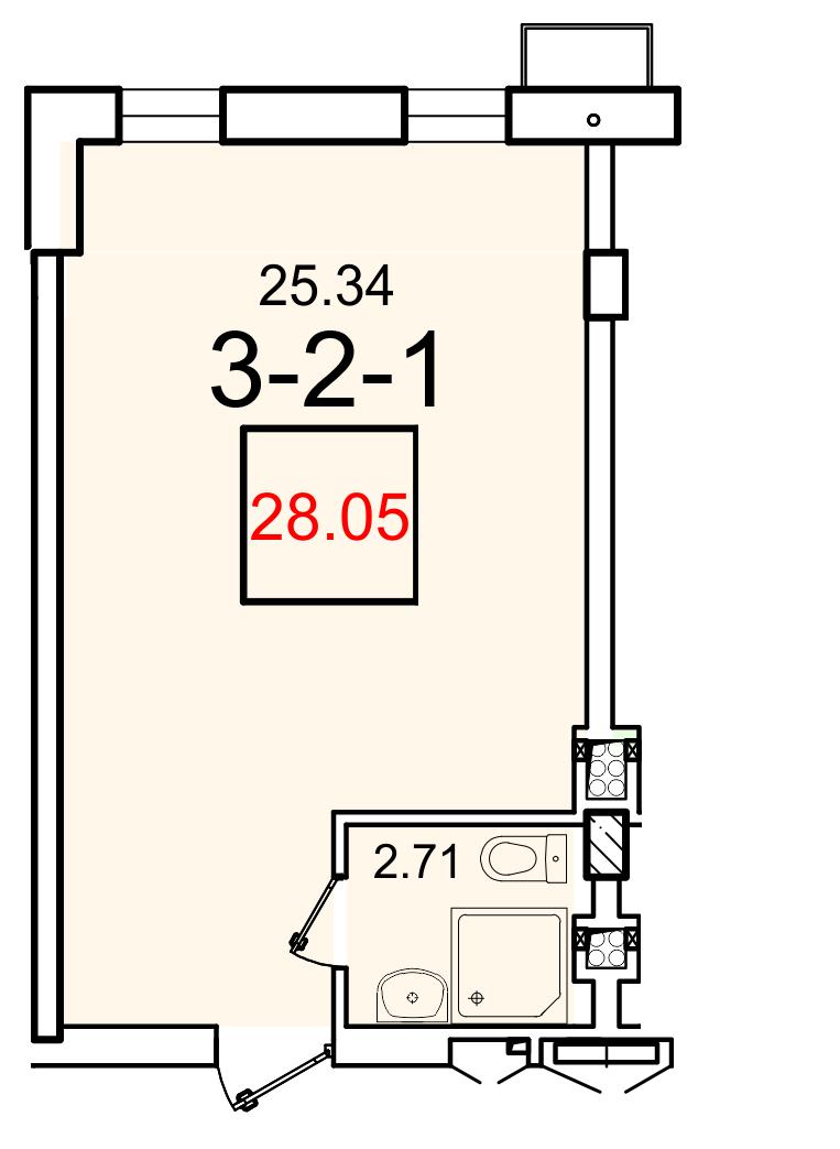 Однокомнатная - ЖК Smart (Смарт)ПроданаПлощадь:28,05m²