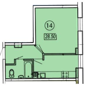 Однокомнатная - ЖК Клубный 4 на ДоковойПроданаПлощадь:27,4m²