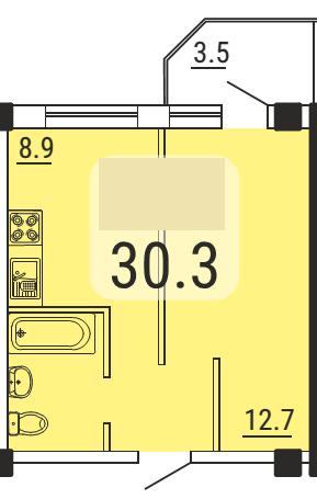 Однокомнатная - ЖК МалинкиПроданаПлощадь:30,3m²