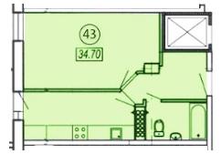 Однокомнатная - ЖК Клубный 4 на ДоковойПроданаПлощадь:34,7m²