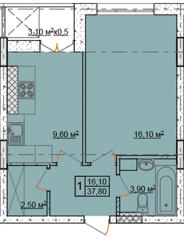 37,8 кв.м жк клаб марин2 club marine 2 однокомнатная планировка