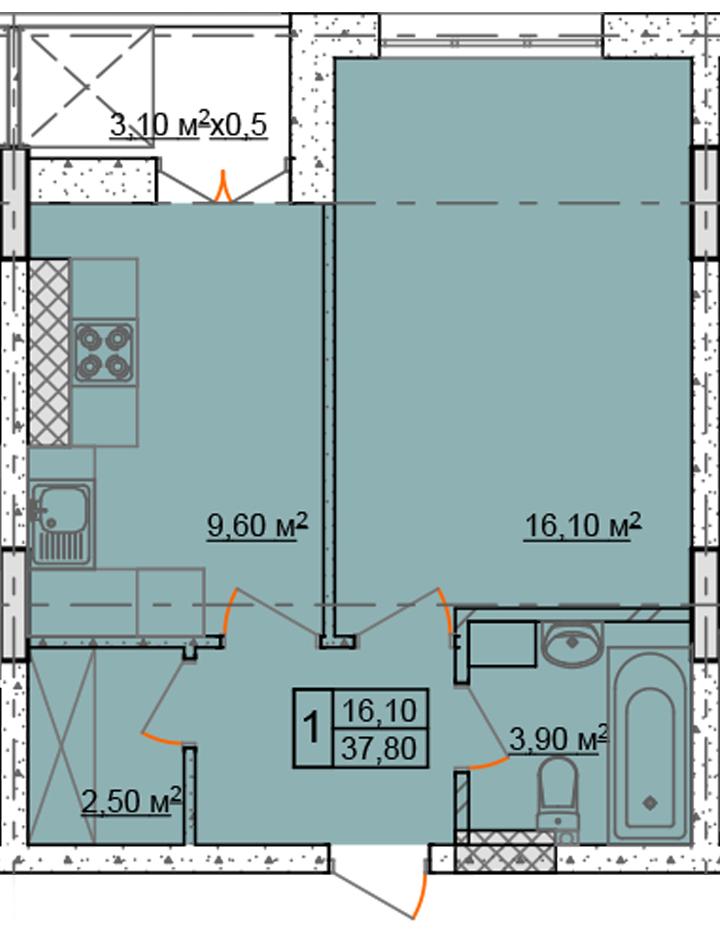 Однокомнатная - ЖК Club Marine 2 (Клаб Марин 2)$30240Площадь:37,8m²