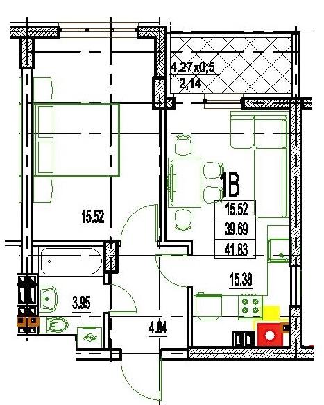 Однокомнатная - ЖК Дерби (Derby Style House)$41412Площадь:41,83m²