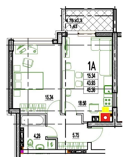 Однокомнатная - ЖК Дерби (Derby Style House)$44906Площадь:45,36m²