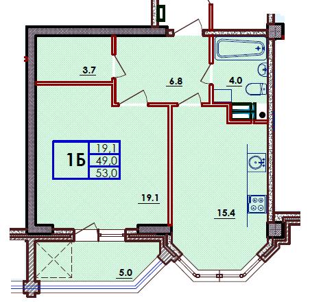 Однокомнатная - ЖК ВолнаПроданаПлощадь:53m²