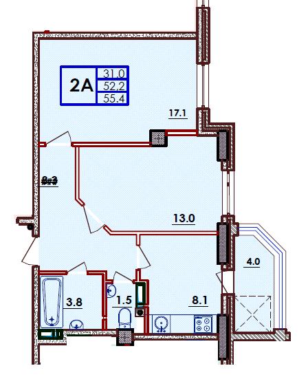 Двухкомнатная - ЖК ВолнаПроданаПлощадь:55,4m²
