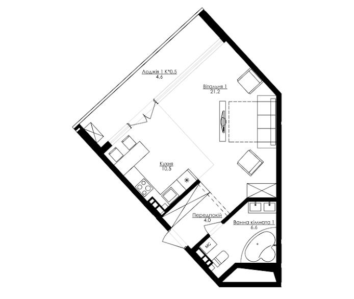 Однокомнатная - ЖК Kandinsky Residence (Кандинский)$64297Площадь:56,9m²
