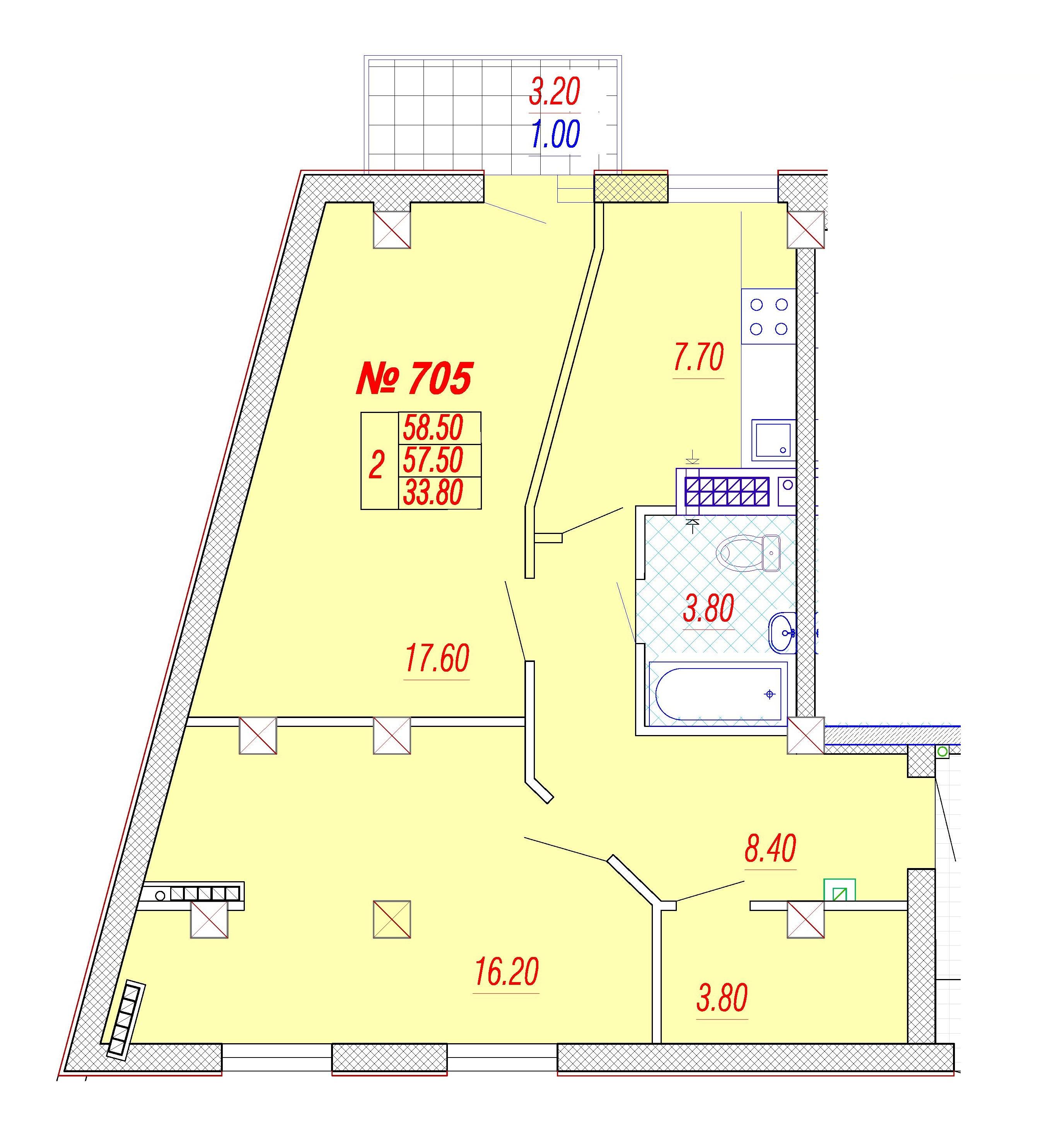 Двухкомнатная - ЖК Дом на Приморской$70800Площадь:59m²