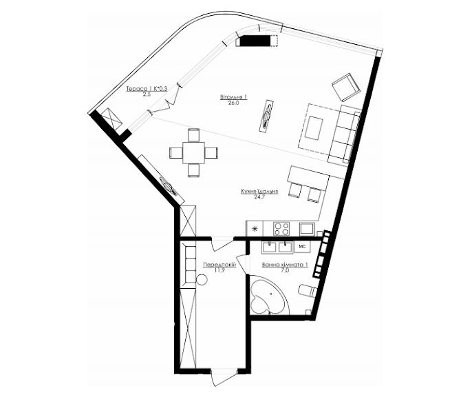76,4 ЖК Kandinsky Residence Кандинский Однокомнатная планировка