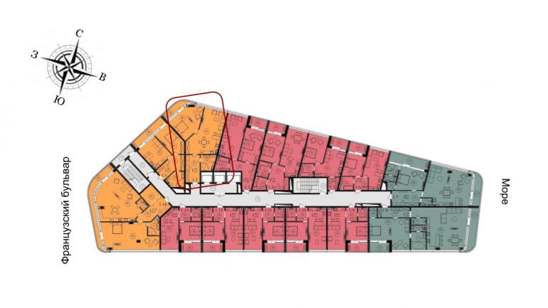 76,4 кв.м ЖК Kandinsky Residence Кандинский Однокомнатная расположение на этаже