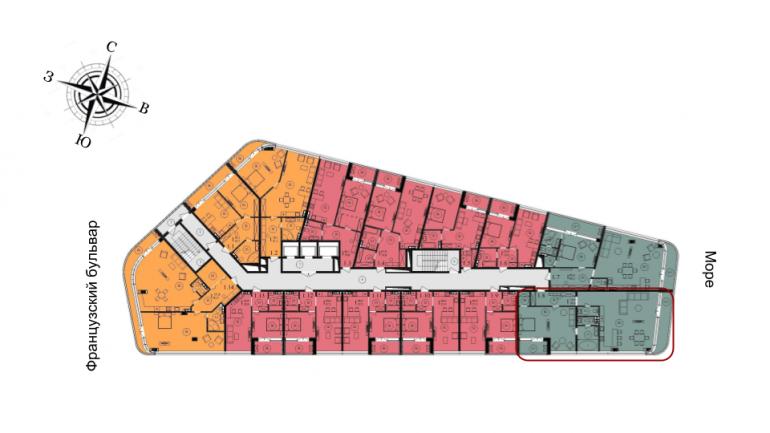 134,1 кв.м ЖК Kandinsky Residence Кандинский трехкомнатная расположение на этаже