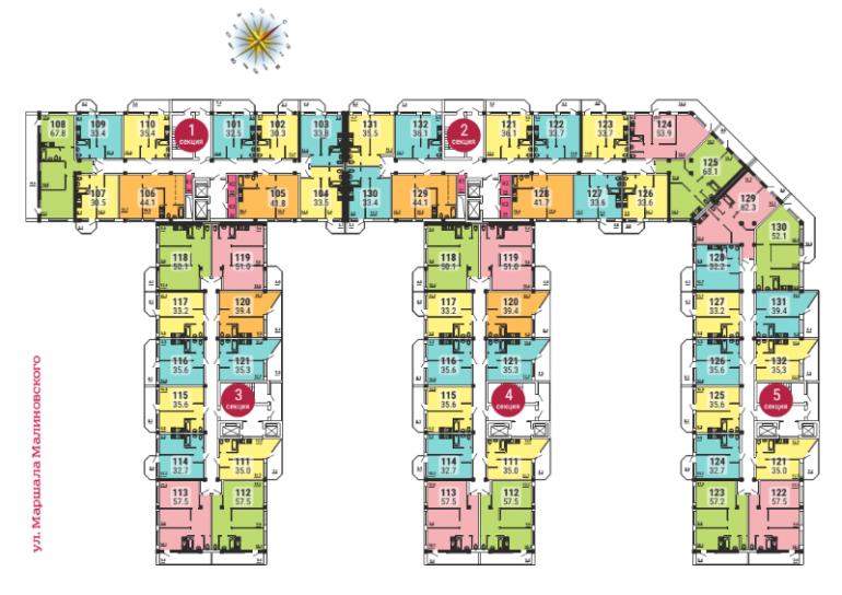ЖК Малинки план этажей