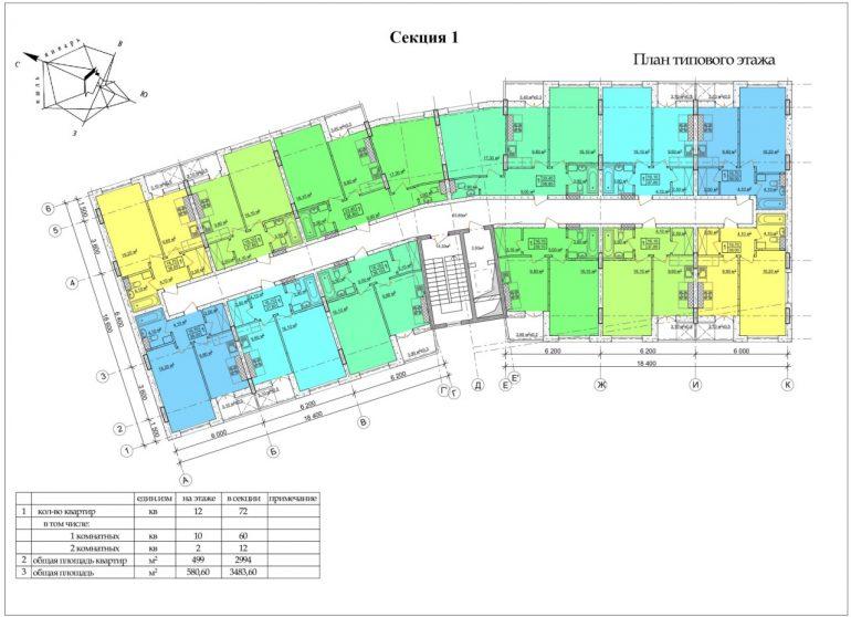 ЖК CLUB MARINE 2 (Клаб Марин 2 ) План 1 секция