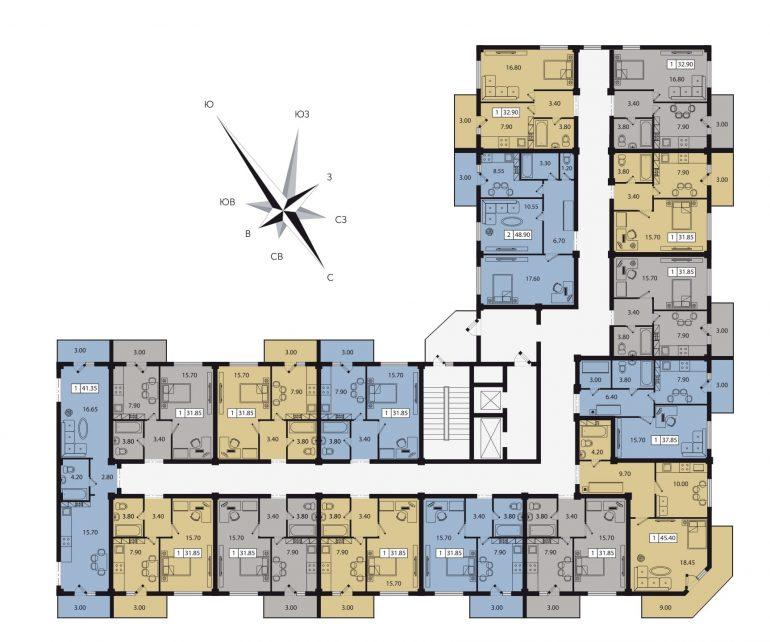 ЖК Два Академика план этажа