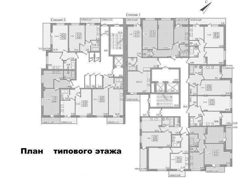 ЖК Platinum Residence план типового этажа