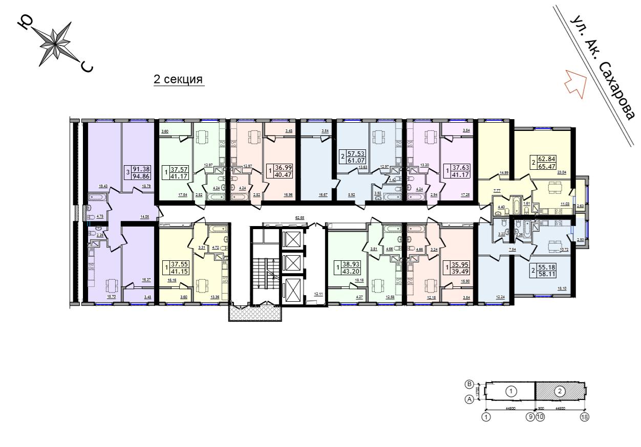 ЖК 47 Жемчужина план 2-25 этажа 2 секция