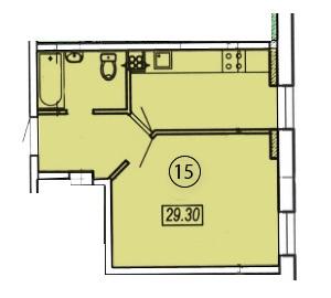 Однокомнатная - ЖК Клубный 4 на ДоковойПроданаПлощадь:28,3m²