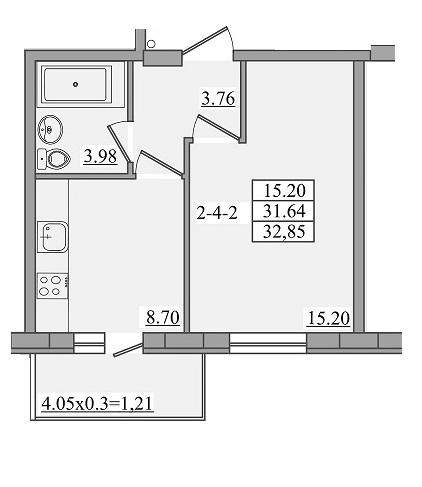 Однокомнатная - ЖК Платинум Резиденс Platinum ResidenceПроданаПлощадь:32,85m²