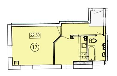 Однокомнатная - ЖК Клубный 4 на ДоковойПроданаПлощадь:35,9m²