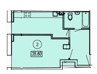 Однокомнатная - ЖК Клубный 4 на ДоковойПроданаПлощадь:36,1m²