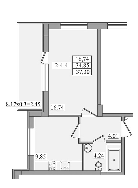 Однокомнатная - ЖК Платинум Резиденс Platinum Residence$37673Площадь:37,3m²