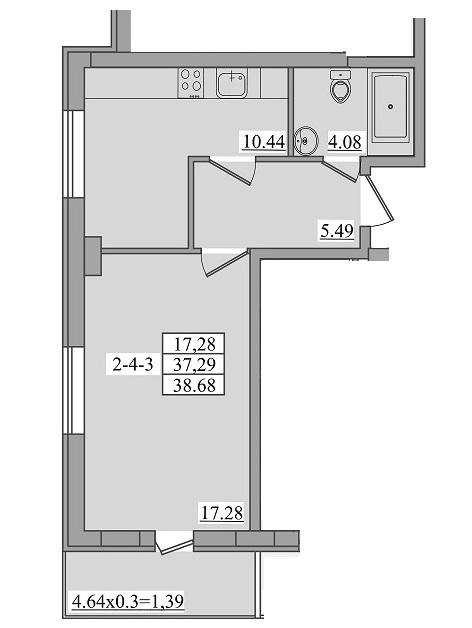 Однокомнатная - ЖК Платинум Резиденс Platinum Residence$44173Площадь:38,68m²