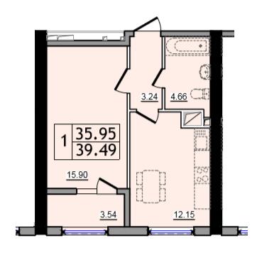 Однокомнатная - ЖК 47 Жемчужина$23950Площадь:39,55m²