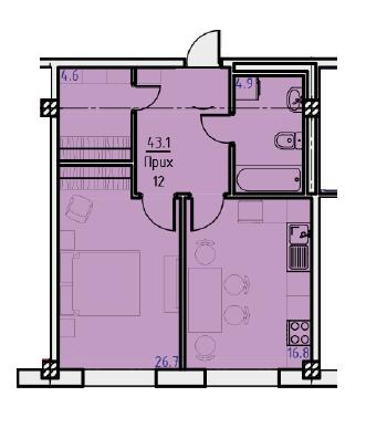 Однокомнатная - ЖК Клубный дом Бецалель (Bezalel)ПроданаПлощадь:43,1m²