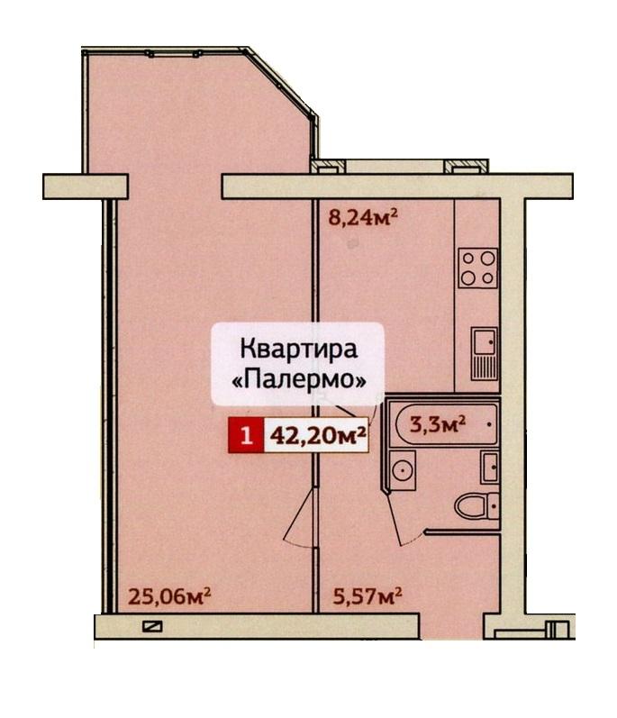 Однокомнатная - ЖК Набережный квартал Крыжановка$23172Площадь:43,7m²