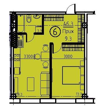 Однокомнатная - ЖК Клубный дом Бецалель (Bezalel)$66615Площадь:46,1m²