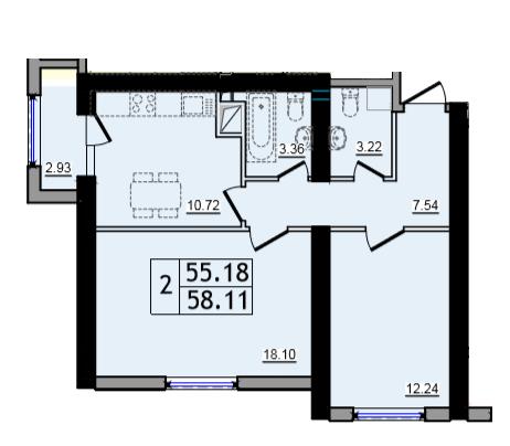 Двухкомнатная - ЖК 47 Жемчужина$34902Площадь:58,17m²