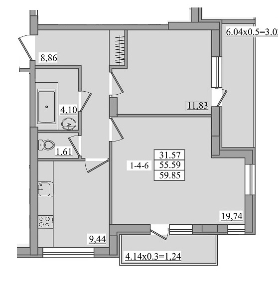 Двухкомнатная - ЖК Платинум Резиденс Platinum Residence$58055Площадь:59,85m²